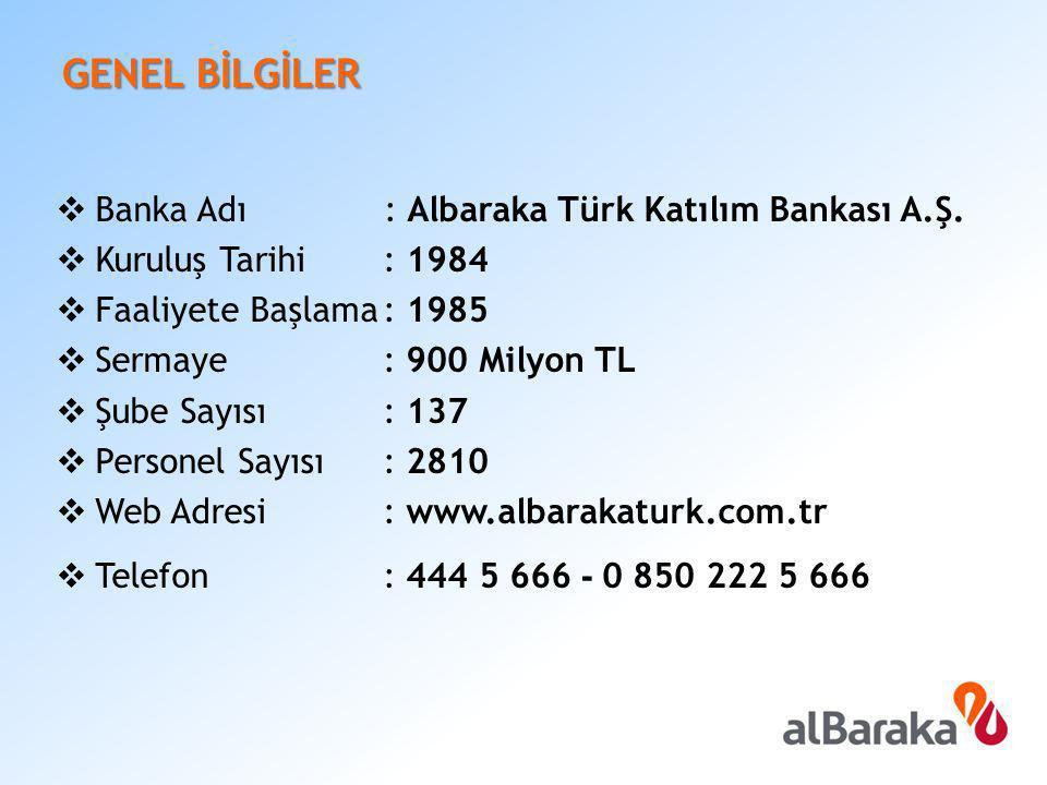 GENEL BİLGİLER  Banka Adı : Albaraka Türk Katılım Bankası A.Ş.  Kuruluş Tarihi: 1984  Faaliyete Başlama: 1985  Sermaye: 900 Milyon TL  Şube Sayıs
