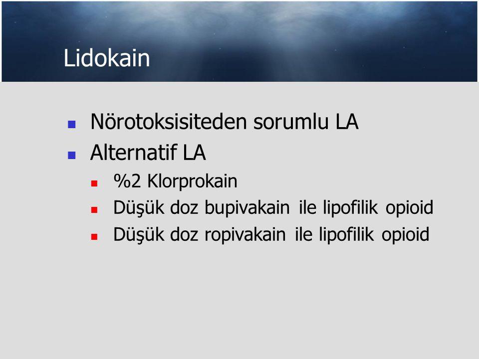 Lidokain Nörotoksisiteden sorumlu LA Alternatif LA %2 Klorprokain Düşük doz bupivakain ile lipofilik opioid Düşük doz ropivakain ile lipofilik opioid