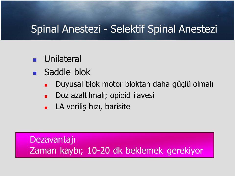 Spinal Anestezi - Selektif Spinal Anestezi Unilateral Saddle blok Duyusal blok motor bloktan daha güçlü olmalı Doz azaltılmalı; opioid ilavesi LA veriliş hızı, barisite Dezavantajı Zaman kaybı; 10-20 dk beklemek gerekiyor