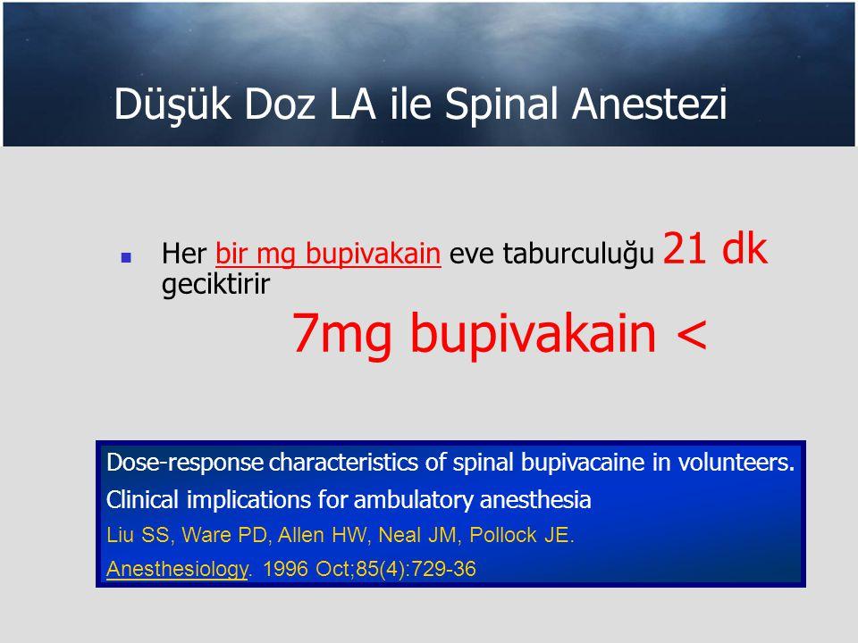 Düşük Doz LA ile Spinal Anestezi Her bir mg bupivakain eve taburculuğu 21 dk geciktirir 7mg bupivakain < Dose-response characteristics of spinal bupivacaine in volunteers.