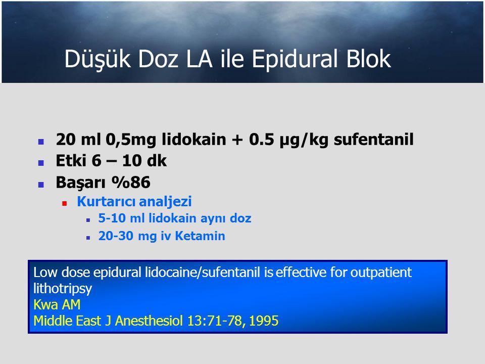 Düşük Doz LA ile Epidural Blok 20 ml 0,5mg lidokain + 0.5 µg/kg sufentanil Etki 6 – 10 dk Başarı %86 Kurtarıcı analjezi 5-10 ml lidokain aynı doz 20-30 mg iv Ketamin Low dose epidural lidocaine/sufentanil iseffective for outpatient lithotripsy Kwa AM Middle East J Anesthesiol 13:71-78, 1995