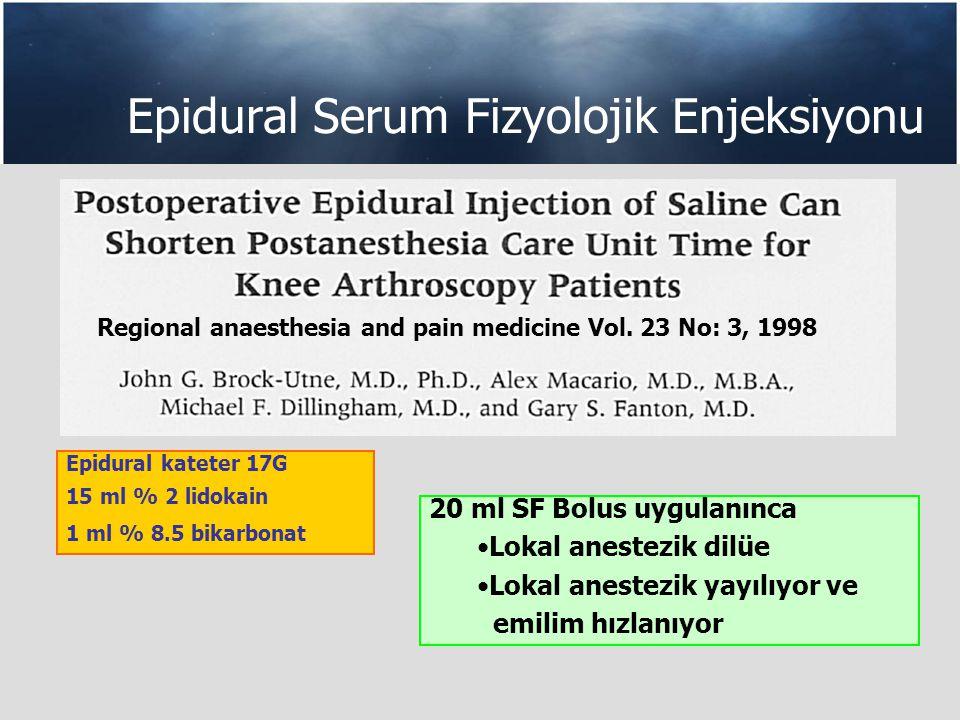 Epidural Serum Fizyolojik Enjeksiyonu Epidural kateter 17G 15 ml % 2 lidokain 1 ml % 8.5 bikarbonat 20 ml SF Bolus uygulanınca Lokal anestezik dilüe Lokal anestezik yayılıyor ve emilim hızlanıyor Regional anaesthesia and pain medicine Vol.