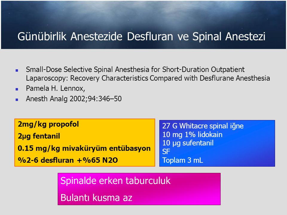 Günübirlik Anestezide Desfluran ve Spinal Anestezi Small-Dose Selective Spinal Anesthesia for Short-Duration Outpatient Laparoscopy: Recovery Characteristics Compared with Desflurane Anesthesia Pamela H.