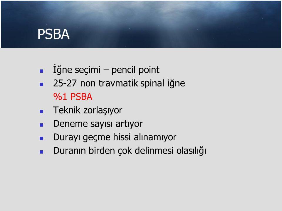 PSBA İğne seçimi – pencil point 25-27 non travmatik spinal iğne %1 PSBA Teknik zorlaşıyor Deneme sayısı artıyor Durayı geçme hissi alınamıyor Duranın birden çok delinmesi olasılığı