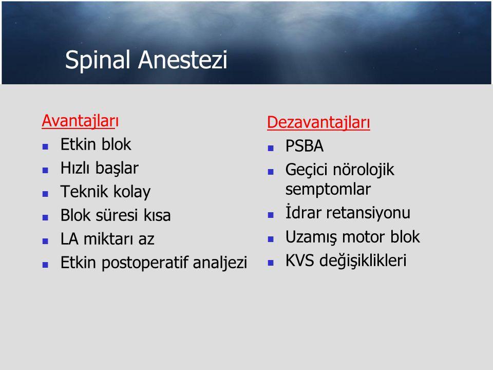 Spinal Anestezi Avantajları Etkin blok Hızlı başlar Teknik kolay Blok süresi kısa LA miktarı az Etkin postoperatif analjezi Dezavantajları PSBA Geçici nörolojik semptomlar İdrar retansiyonu Uzamış motor blok KVS değişiklikleri