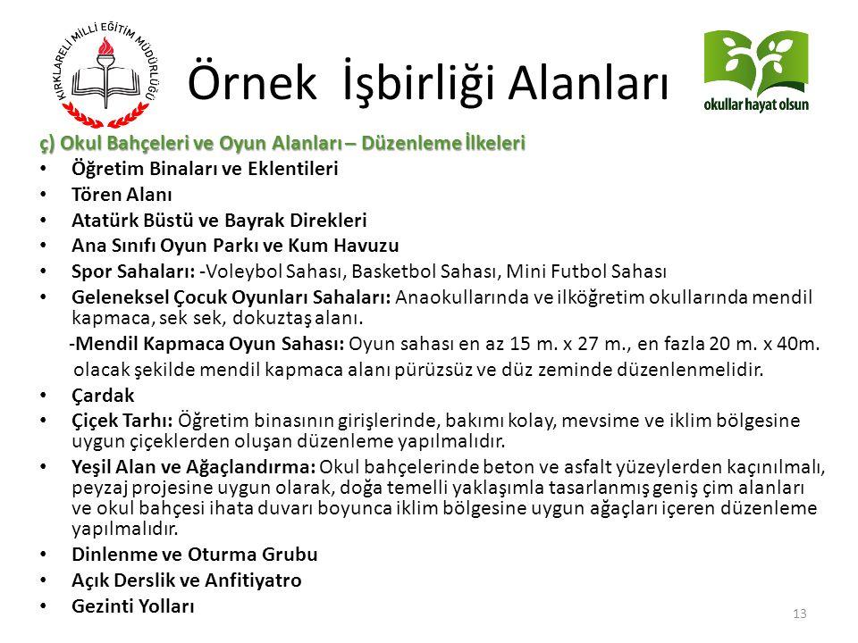 Örnek İşbirliği Alanları ç) Okul Bahçeleri ve Oyun Alanları – Düzenleme İlkeleri Öğretim Binaları ve Eklentileri Tören Alanı Atatürk Büstü ve Bayrak D