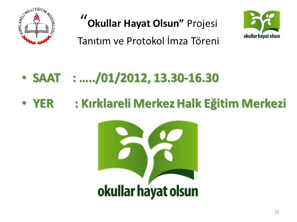 """"""" Okullar Hayat Olsun"""" Projesi Tanıtım ve Protokol İmza Töreni SAAT : …../01/2012, 13.30-16.30 SAAT : …../01/2012, 13.30-16.30 YER : Kırklareli Merkez"""