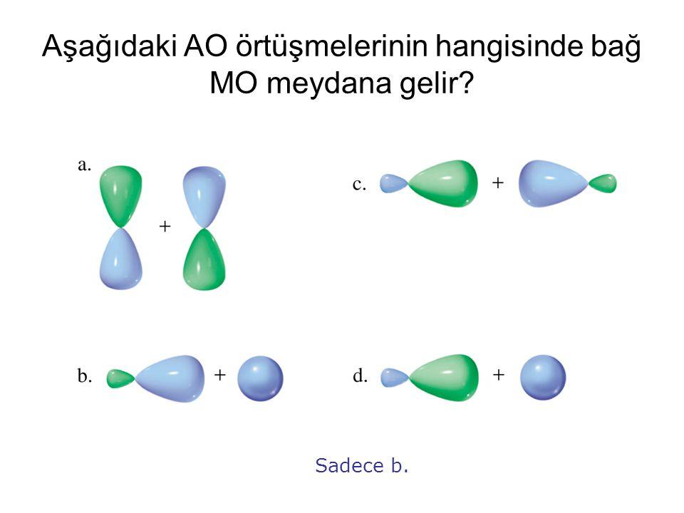 Aşağıdaki AO örtüşmelerinin hangisinde bağ MO meydana gelir? Sadece b.