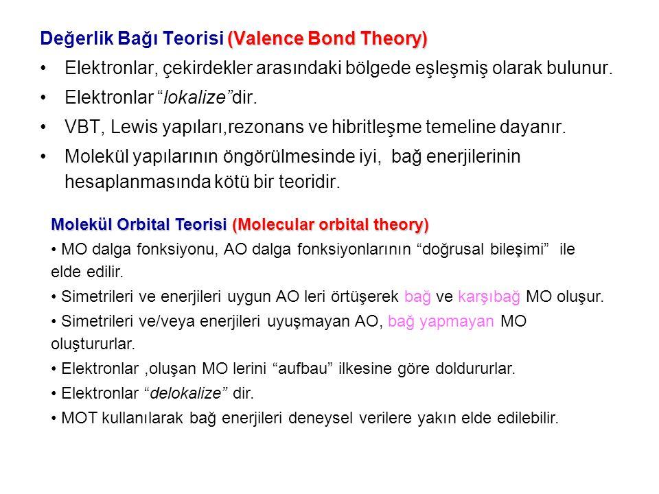 """(Valence Bond Theory) Değerlik Bağı Teorisi (Valence Bond Theory) Elektronlar, çekirdekler arasındaki bölgede eşleşmiş olarak bulunur. Elektronlar """"lo"""