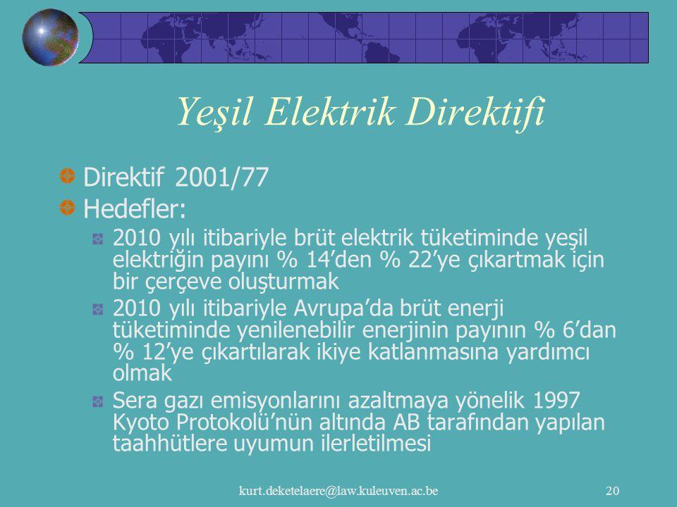 kurt.deketelaere@law.kuleuven.ac.be20 Yeşil Elektrik Direktifi Direktif 2001/77 Hedefler: 2010 yılı itibariyle brüt elektrik tüketiminde yeşil elektri