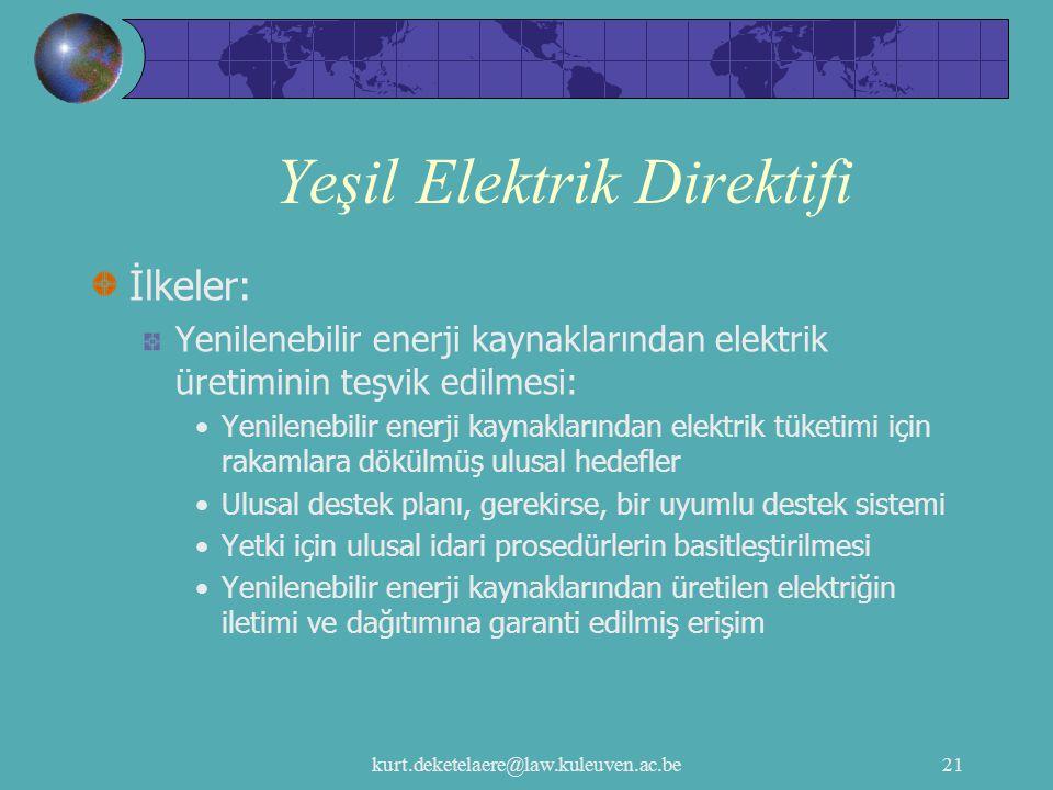 kurt.deketelaere@law.kuleuven.ac.be21 Yeşil Elektrik Direktifi İlkeler: Yenilenebilir enerji kaynaklarından elektrik üretiminin teşvik edilmesi: Yenil