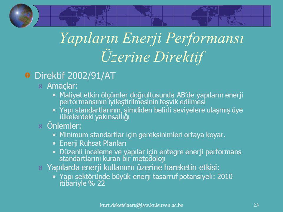 kurt.deketelaere@law.kuleuven.ac.be23 Yapıların Enerji Performansı Üzerine Direktif Direktif 2002/91/AT Amaçlar: Maliyet etkin ölçümler doğrultusunda