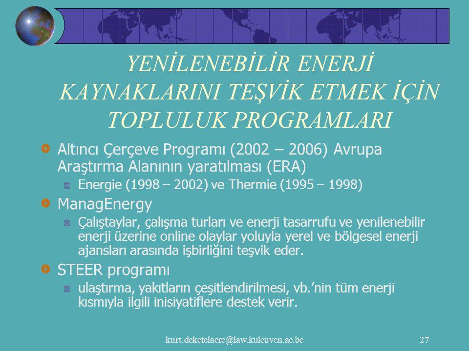 kurt.deketelaere@law.kuleuven.ac.be27 YENİLENEBİLİR ENERJİ KAYNAKLARINI TEŞVİK ETMEK İÇİN TOPLULUK PROGRAMLARI Altıncı Çerçeve Programı (2002 – 2006)