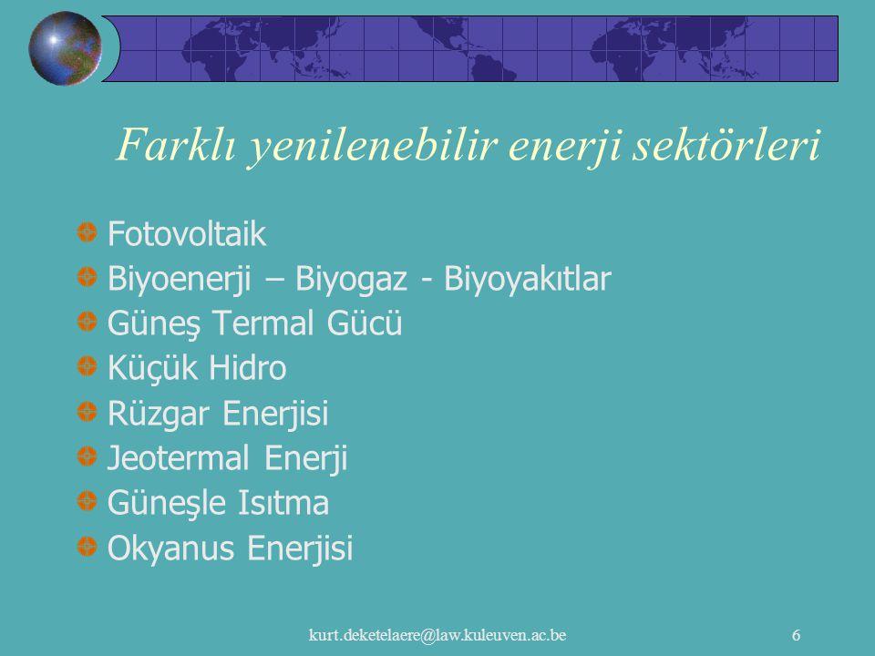 kurt.deketelaere@law.kuleuven.ac.be6 Farklı yenilenebilir enerji sektörleri Fotovoltaik Biyoenerji – Biyogaz - Biyoyakıtlar Güneş Termal Gücü Küçük Hi