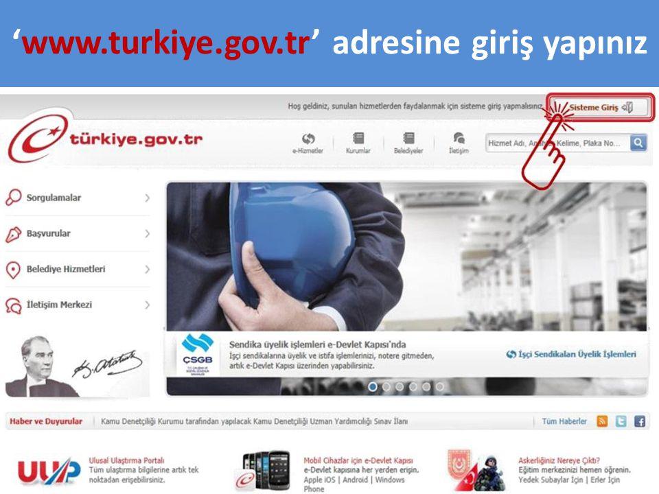 'www.turkiye.gov.tr' adresine giriş yapınız