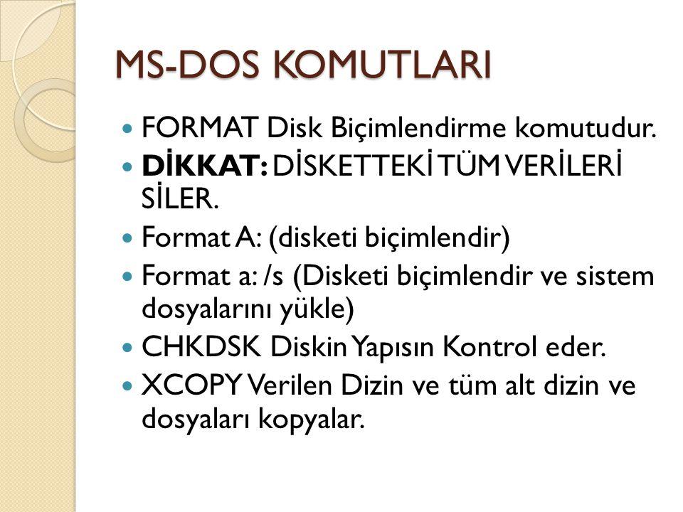 MS-DOS KOMUTLARI FORMAT Disk Biçimlendirme komutudur.