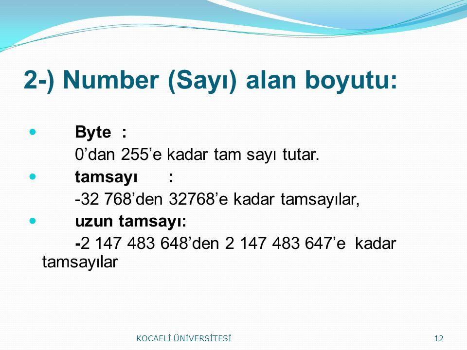 2-) Number (Sayı) alan boyutu: Byte: 0'dan 255'e kadar tam sayı tutar. tamsayı: -32 768'den 32768'e kadar tamsayılar, uzun tamsayı: -2 147 483 648'den