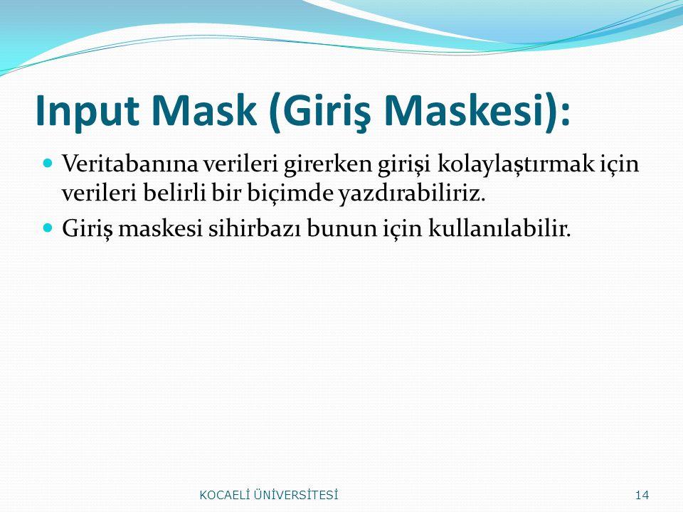 Input Mask (Giriş Maskesi): Veritabanına verileri girerken girişi kolaylaştırmak için verileri belirli bir biçimde yazdırabiliriz. Giriş maskesi sihir