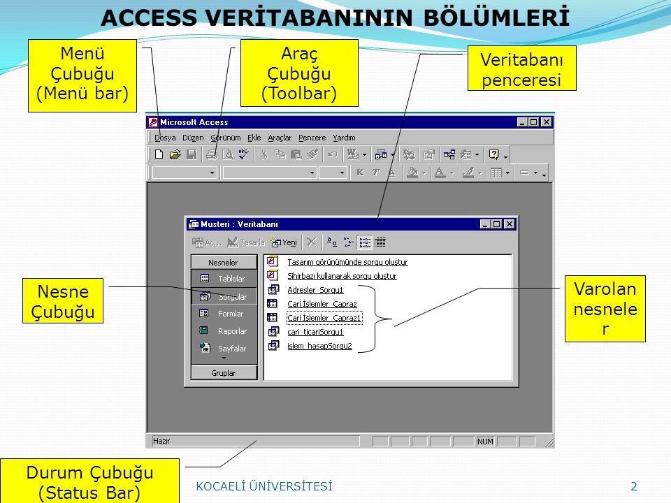 Öğrenci_ders KOCAELİ ÜNİVERSİTESİ43 Öğrenci No: 10 karakter, gerekli, Lookup(Arama) Öğrenci_Özlük tablosundan Öğrenci_no, Adı, Bölümü alanlarını alacak Ders Kodu : 7 karakter, Lookup(Arama) Dersler tablosundan Ders kodu alanı gelecek Yarırıl : 15 karakter, varsayılan 2002/2003- Bahar 1