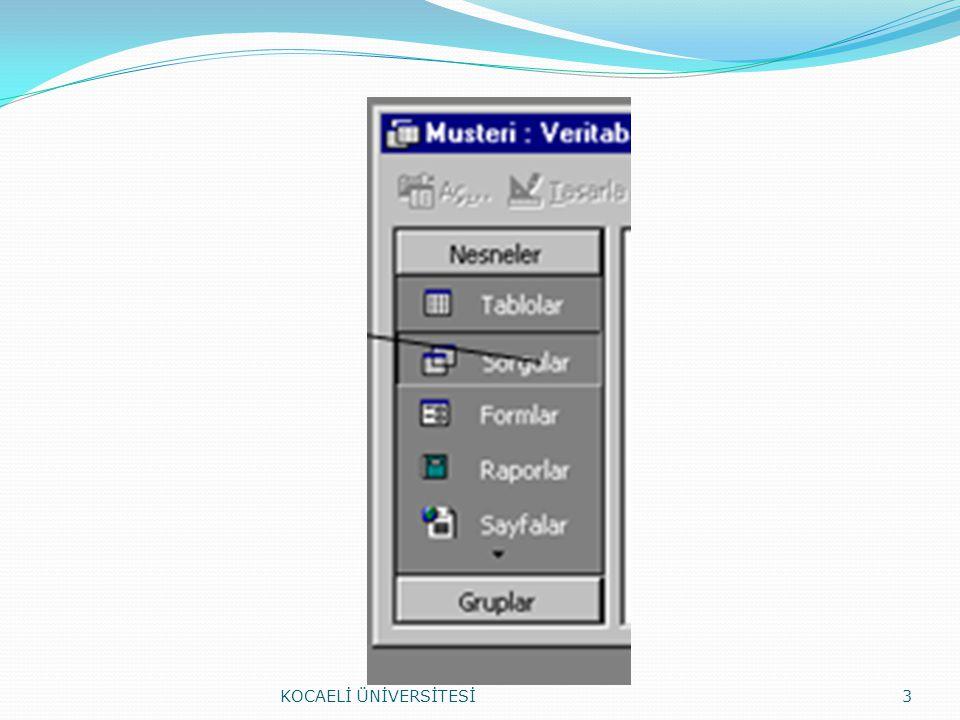 Veri Girişi (Database Design) KOCAELİ ÜNİVERSİTESİ24 F2: İmleci alanın içerisine getirerek değişiklik yapılabilir.