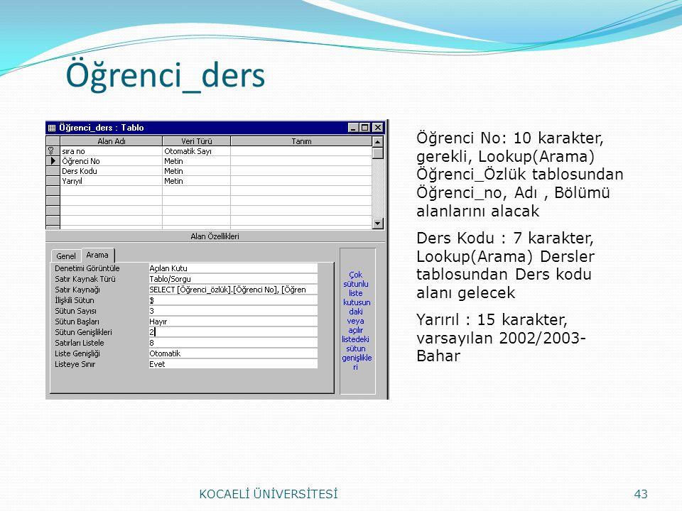 Öğrenci_ders KOCAELİ ÜNİVERSİTESİ43 Öğrenci No: 10 karakter, gerekli, Lookup(Arama) Öğrenci_Özlük tablosundan Öğrenci_no, Adı, Bölümü alanlarını alaca