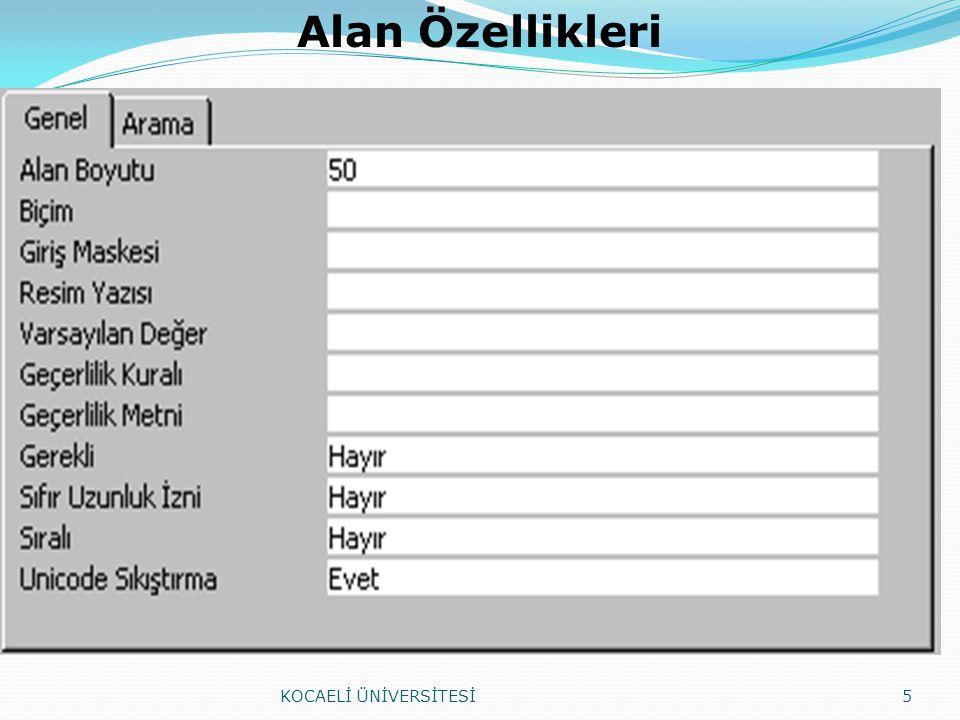 Alan adı(FieldName): Tabloya eklenmek istenen alan isimleri en fazla 64 karakter uzunluğunda olabilmektedir.