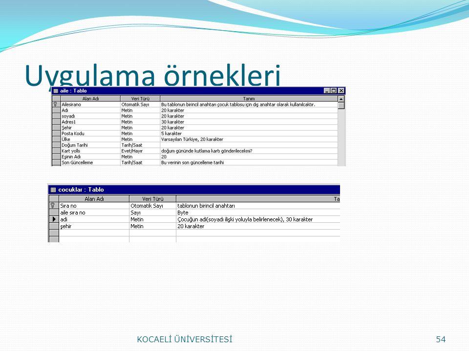 Uygulama örnekleri KOCAELİ ÜNİVERSİTESİ54