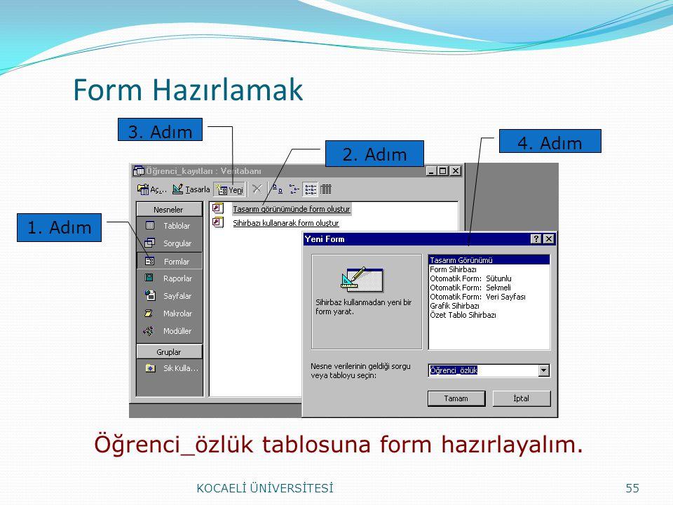 Form Hazırlamak KOCAELİ ÜNİVERSİTESİ55 1. Adım 2. Adım 3. Adım 4. Adım Öğrenci_özlük tablosuna form hazırlayalım.