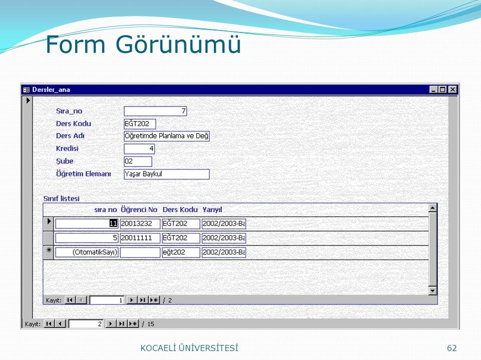 Form Görünümü KOCAELİ ÜNİVERSİTESİ62