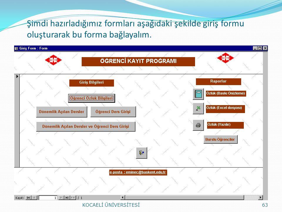 Şimdi hazırladığımız formları aşağıdaki şekilde giriş formu oluşturarak bu forma bağlayalım. KOCAELİ ÜNİVERSİTESİ63