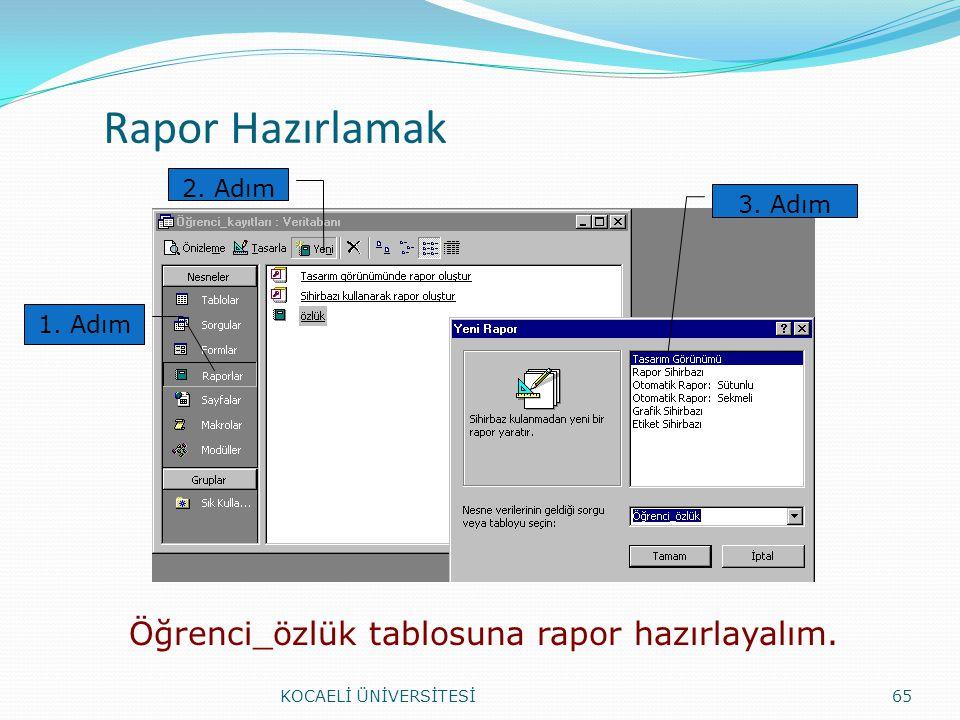 Rapor Hazırlamak KOCAELİ ÜNİVERSİTESİ65 1. Adım 2. Adım 3. Adım Öğrenci_özlük tablosuna rapor hazırlayalım.