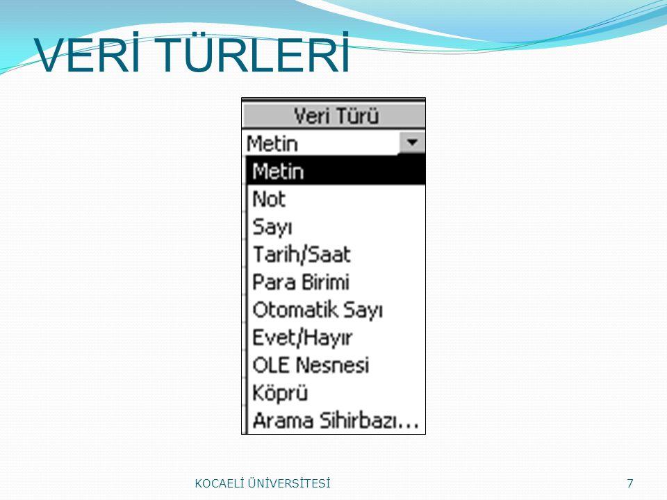 VERİ TÜRLERİ KOCAELİ ÜNİVERSİTESİ7