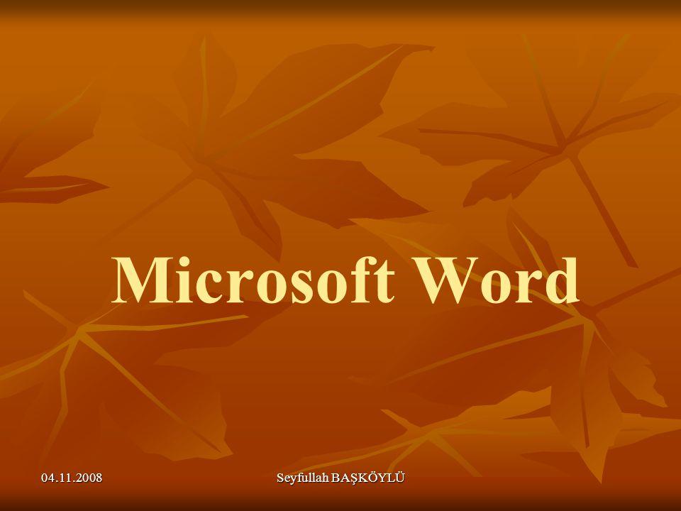04.11.2008 Seyfullah BAŞKÖYLÜ Microsoft Word