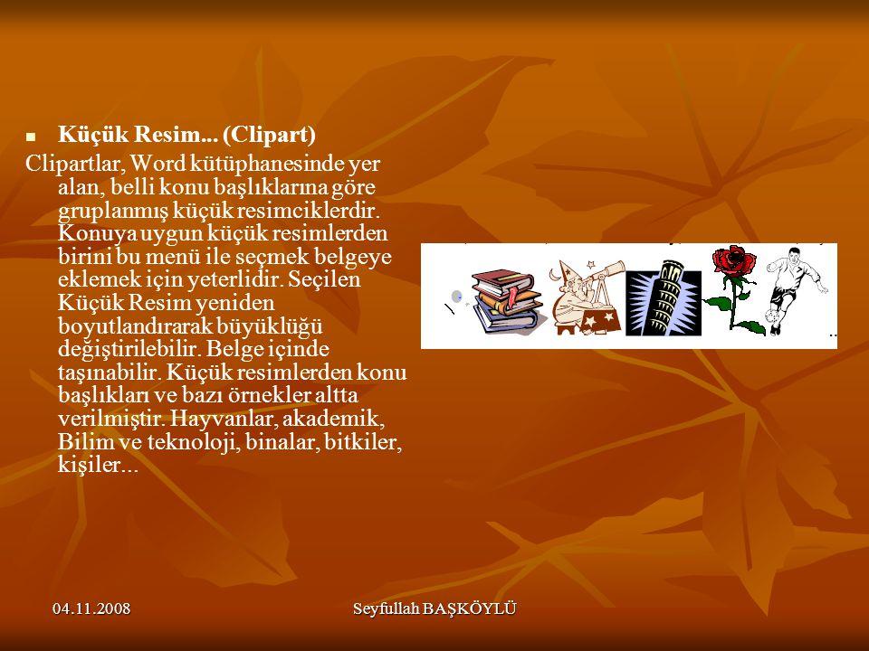 04.11.2008Seyfullah BAŞKÖYLÜ Küçük Resim... (Clipart) Clipartlar, Word kütüphanesinde yer alan, belli konu başlıklarına göre gruplanmış küçük resimcik