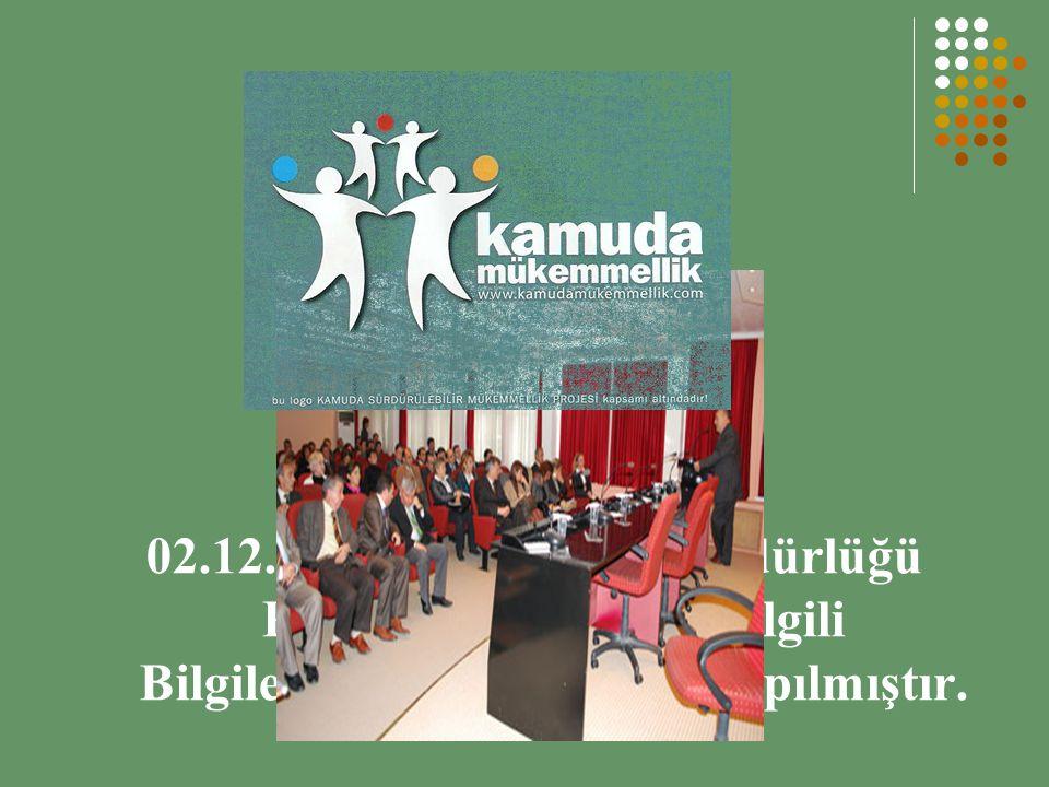 02.12.2009 tarihinde İl Müdürlüğü Personeline Proje İle İlgili Bilgilendirme Toplantısı Yapılmıştır.