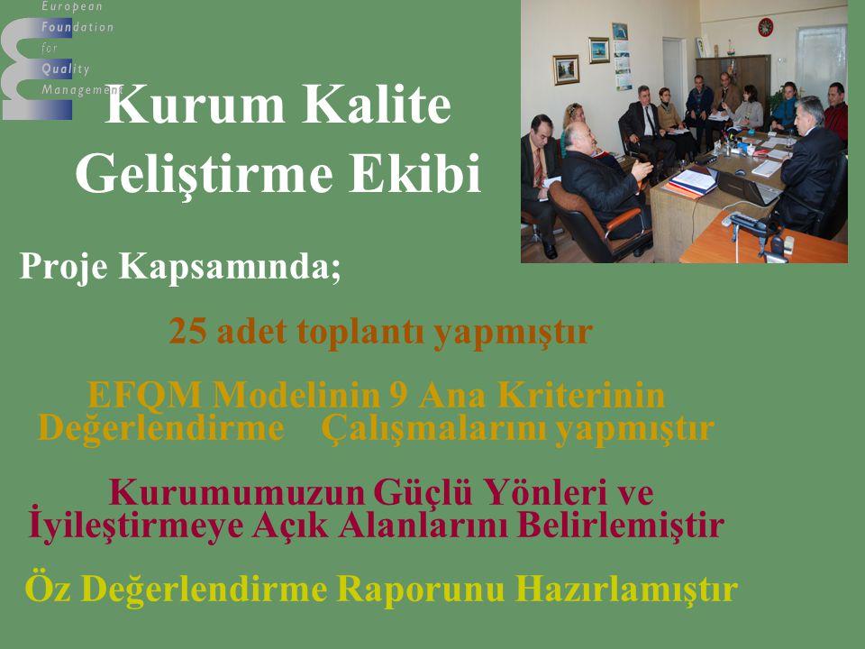 Kurum Kalite Geliştirme Ekibi Proje Kapsamında; 25 adet toplantı yapmıştır EFQM Modelinin 9 Ana Kriterinin Değerlendirme Çalışmalarını yapmıştır Kurum