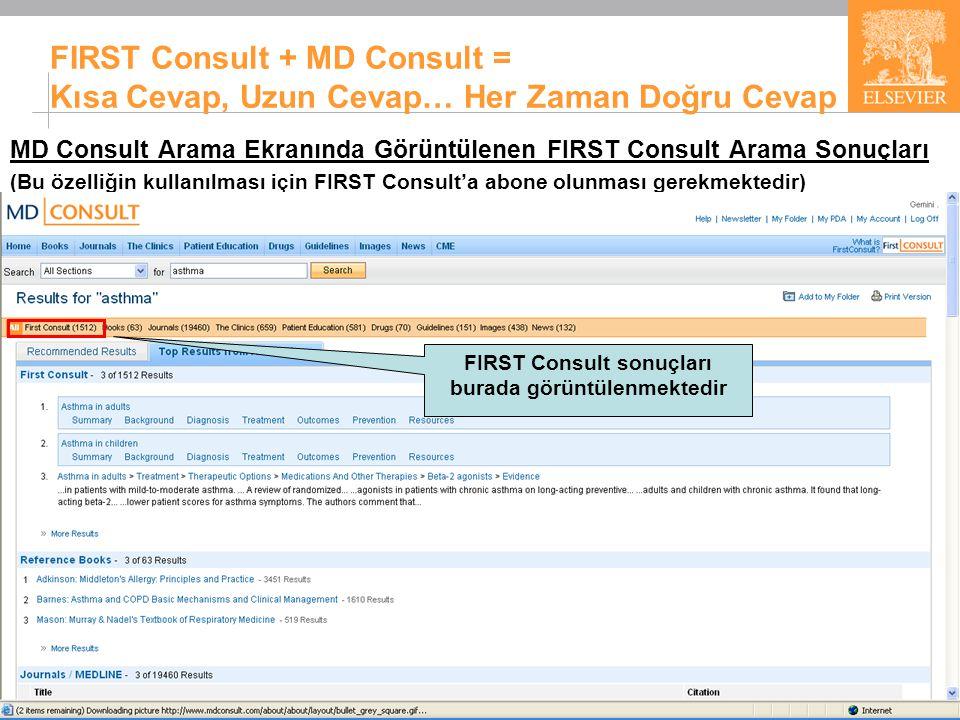 27 FIRST Consult + MD Consult = Kısa Cevap, Uzun Cevap… Her Zaman Doğru Cevap MD Consult Arama Ekranında Görüntülenen FIRST Consult Arama Sonuçları (Bu özelliğin kullanılması için FIRST Consult'a abone olunması gerekmektedir) FIRST Consult sonuçları burada görüntülenmektedir