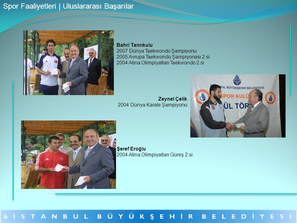 Bahri Tanrıkulu 2007 Dünya Taekwondo Şampiyonu 2005 Avrupa Taekwondo Şampiyonası 2.si 2004 Atina Olimpiyatları Taekwondo 2.si Şeref Eroğlu 2004 Atina