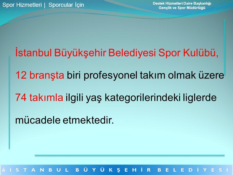 İstanbul Büyükşehir Belediyesi Spor Kulübü, 12 branşta biri profesyonel takım olmak üzere 74 takımla ilgili yaş kategorilerindeki liglerde mücadele et