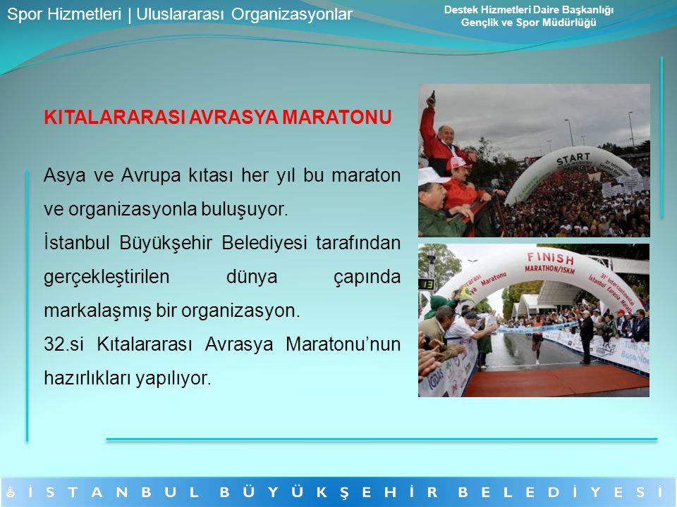 KITALARARASI AVRASYA MARATONU Asya ve Avrupa kıtası her yıl bu maraton ve organizasyonla buluşuyor. İstanbul Büyükşehir Belediyesi tarafından gerçekle