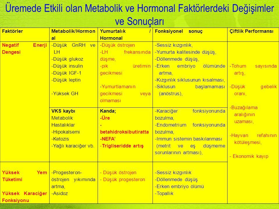 Faktörler Metabolik/Hormon al Yumurtalık / Hormonal Fonksiyonel sonuçÇiftlik Performansı Negatif Enerji Dengesi -Düşük GnRH ve LH -Düşük glukoz -Düşük