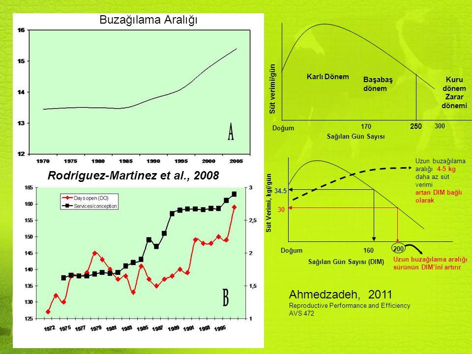 Üreme performansı - Damızlık Değer Rodriguez Martinez et al., 2008 (Gri: süt verimi, Beyaz: Sürü Ömrü, Siyah: Sağlık+Üreme)