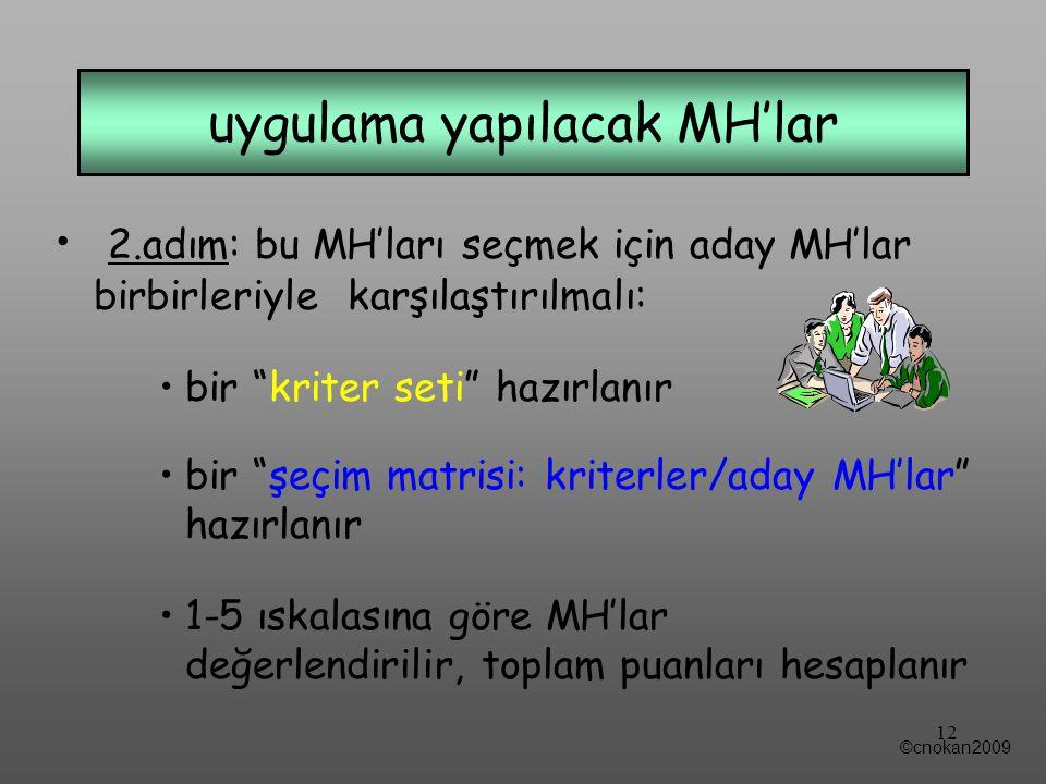 2.adım: bu MH'ları seçmek için aday MH'lar birbirleriyle karşılaştırılmalı: bir kriter seti hazırlanır bir şeçim matrisi: kriterler/aday MH'lar hazırlanır 1-5 ıskalasına göre MH'lar değerlendirilir, toplam puanları hesaplanır uygulama yapılacak MH'lar ©cnokan2009 12