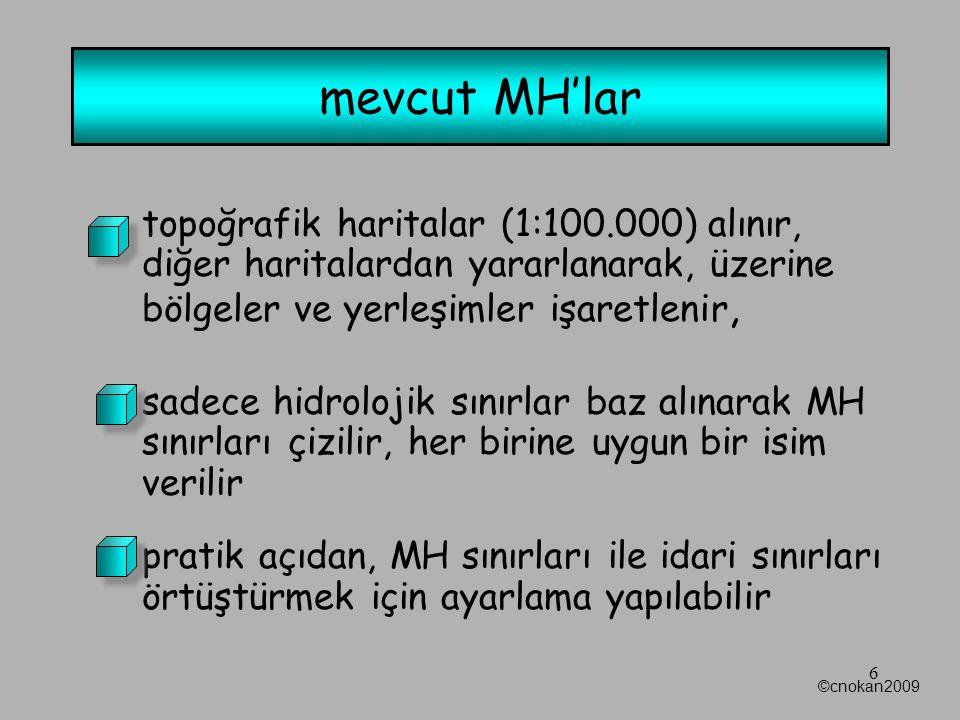 liste hazırlanır: –MH ismi –yerleşim birimlerinin isimleri –MH'nın toplam nufusu –MH'nın tahmini alanı (ha) ©cnokan2009 7 mevcut MH'lar