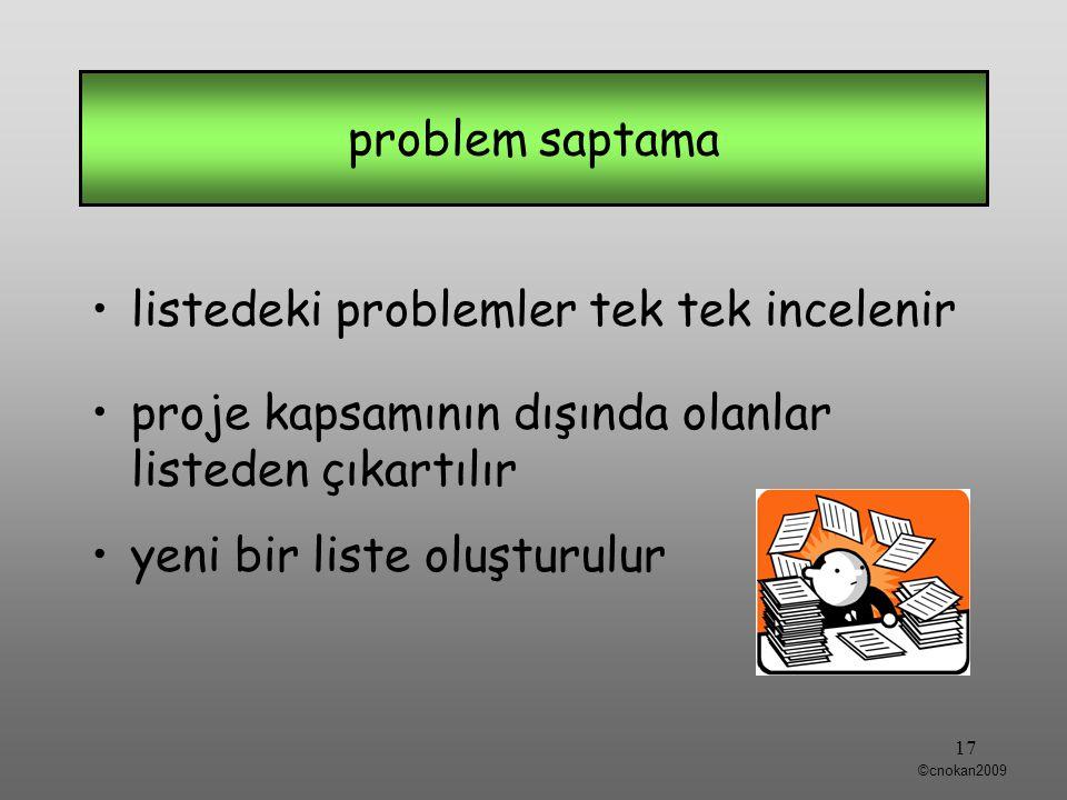 listedeki problemler tek tek incelenir proje kapsamının dışında olanlar listeden çıkartılır yeni bir liste oluşturulur problem saptama 17 ©cnokan2009