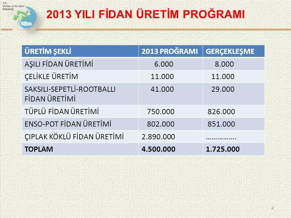 2013 YILI FİDAN ÜRETİM PROĞRAMI 4 ÜRETİM ŞEKLİ2013 PROĞRAMIGERÇEKLEŞME AŞILI FİDAN ÜRETİMİ 6.000 8.000 ÇELİKLE ÜRETİM 11.000 SAKSILI-SEPETLİ-ROOTBALLI