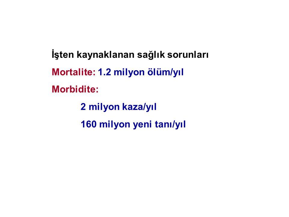 İşten kaynaklanan sağlık sorunları Mortalite: 1.2 milyon ölüm/yıl Morbidite: 2 milyon kaza/yıl 160 milyon yeni tanı/yıl