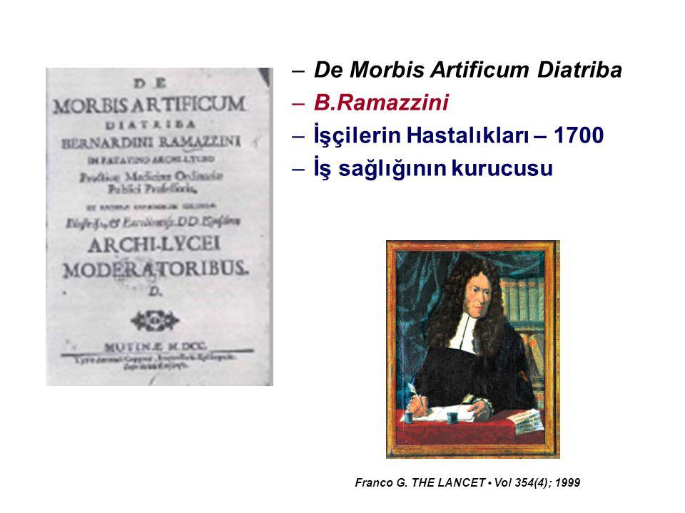 –De Morbis Artificum Diatriba –B.Ramazzini –İşçilerin Hastalıkları – 1700 –İş sağlığının kurucusu Franco G. THE LANCET Vol 354(4); 1999