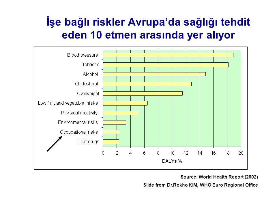 İşe bağlı riskler Avrupa'da sağlığı tehdit eden 10 etmen arasında yer alıyor Source: World Health Report (2002) Slide from Dr.Rokho KIM, WHO Euro Regi