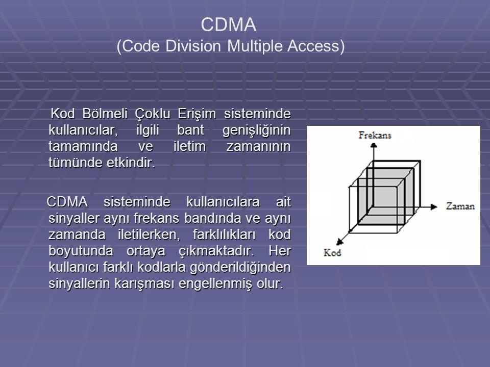 CDMA (Code Division Multiple Access) Kod Bölmeli Çoklu Erişim sisteminde kullanıcılar, ilgili bant genişliğinin tamamında ve iletim zamanının tümünde etkindir.